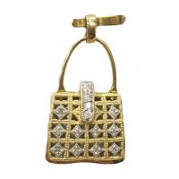 18 k yellow & white gold purse pendant with diamond accents