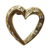 14 k yellow gold heart shaped pendant w diamond accents