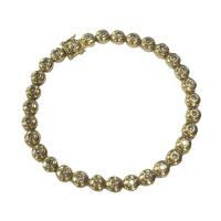 14 k yellow gold and diamond bubble tennis bracelet