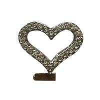 14 k white gold heart and diamond pendant