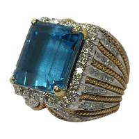 large blue topaz ring with diamond accents