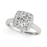 Round with Square Form Border Diamond Engagement Ring in 14k White Gold (1 1/3 cttw)
