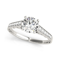 14k White Gold Cathedral Design Single Row Round Diamond Engagement Ring (1 1/4 cttw)