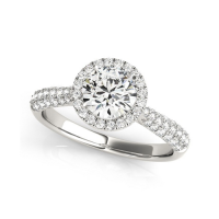 14k White Gold Classic Round Cut with Pave Halo Diamond Engagement Ring (1 1/2 cttw)