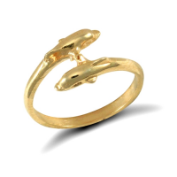 9ct yellow gold baby dolphin ring