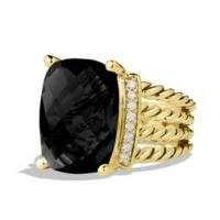 Wheaton ring with black onyx and diamonds in 18k gold