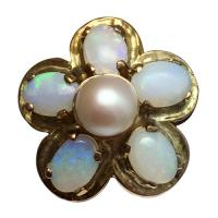 vintage 14k yellow gold opal and pearl flower ring