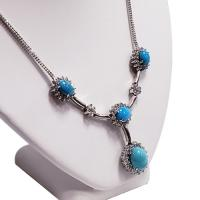 18k white gold and diamond persian turquoise necklace