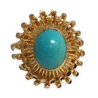 18 k yellow gold turquoise ring