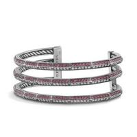 stax three-row pave bracelet with ruby and diamonds, 22mm