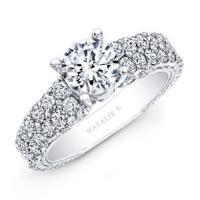 18k white gold pave diamond engagement ring nk14739-w(18)