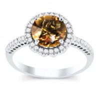 10k white gold citrine and diamond halo solitaire ring