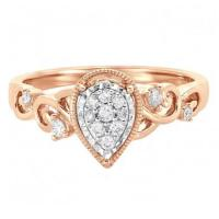 14K ROSE GOLD PEAR SHAPED CLUSTER ENGAGEMENT RING