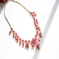 Cambodian design synthetic rudy red necklace