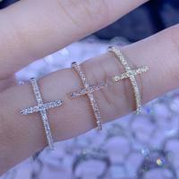Diamond cross ring | white gold, rose gold, yellow gold | index finger ring