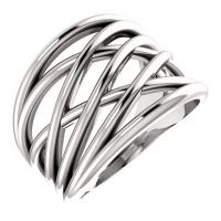 Intertwined white gold ring