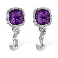 14k white gold 1.71 cttw cushion amethyst & .04 cttw diamond earrings