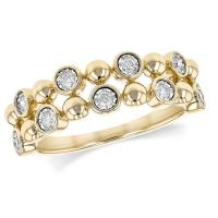 Lady's yellow 14 karat fashion ring with 9 = .16 cttw round g/h si1 diamonds