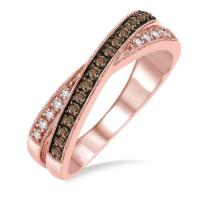 Lady's rose 14 karat cross over fashion ring