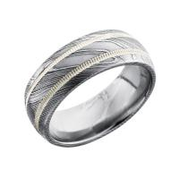 Lashbrook damascus steel & milgrained stainless steel 8mm domed wedding band