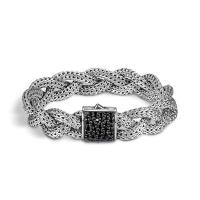 John hardy classic chain sterling silver & black sapphire braided bracelet