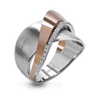 18k white and rose gold band .12d