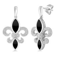 Sterling Silver Onyx & Diamond Dangle Fluer de lis Earrings