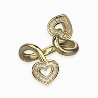 two hearts twisted pavé ring in 18k yellow gold set with pavé diamonds