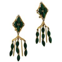 1970'S MALACHITE DIAMOND CHANDELIER EARRINGS
