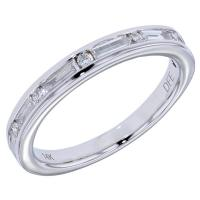 Lady's White 14 Karat Anniversary Ring with 13 = .50 cttw Round and baguette G/H VS2 Diamonds