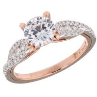 18k Rose and White Gold Engagement Ring