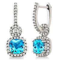 Lady's White 14 Karat  Cushion Blue Topaz Stones Earrings