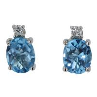 14K White Gold Oval Blue Topaz & Diamond Studs