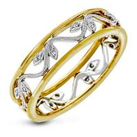 18k white and yellow gold right hand fashion cocktail ring .04d