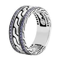 John Hardy Classic Chain Sterling Silver & Blue Sapphire Band Ring