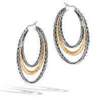 John Hardy Classic Chain Sterling Silver, 18K Yellow Gold Hammered Medium Hoop Earrings