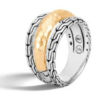 John Hardy Classic Chain Sterling Silver, 18K Yellow Gold Hammered Ring