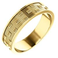 14K Yellow 6 mm Patterned Band Size 10