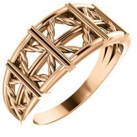 14K Rose Stackable Lattice Ring