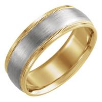 14K Yellow & White 7 mm Comfort-Fit Band