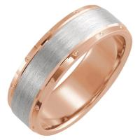 14K Rose & White 7 mm Comfort-Fit Band