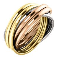 14k tri-color 6-band rolling ring size 7