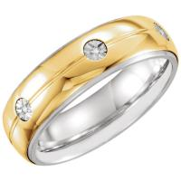 Sterling Silver & 10K Yellow 7 mm .03 CTW Diamond Band Size 11.5