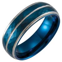 Blue PVD Tungsten 8 mm Patterned Flat Edge Band Size 10