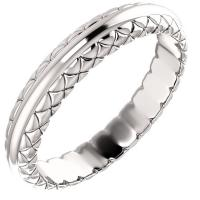 14K White 4.64 mm Woven Design Band Size 11