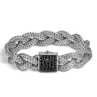 john hardy classic chain sterling silver & black sapphire braided bracelet