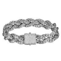 john hardy classic chain sterling silver & diamond 11mm braided pave bracelet