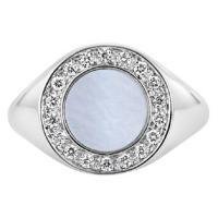 signet 18kt white gold & diamond mother-of-pearl ring