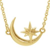 crecent moon and star necklace