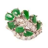 Jade & Diamond Leaf Ring